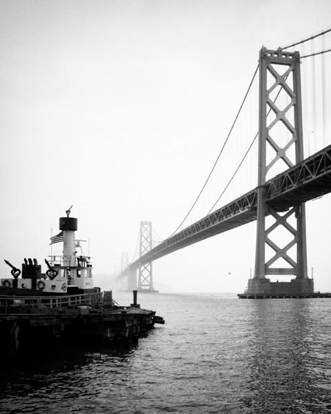 "Fireboats view of the San Francisco Bay Bridge<br /> <br />  <a href=""http://en.wikipedia.org/wiki/San_Francisco_Bay_Bridge"">http://en.wikipedia.org/wiki/San_Francisco_Bay_Bridge</a>"