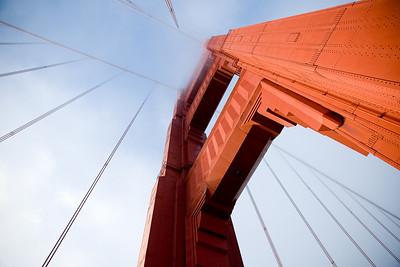 North tower of the Golden Gate Bridge  http://en.wikipedia.org/wiki/Golden_Gate_Bridge
