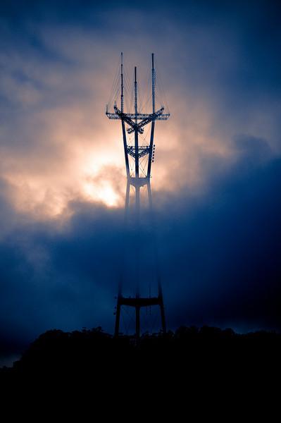 "Sutro Tower as seen from Twin  Peaks, San Francisco.<br /> <br />  <a href=""http://en.wikipedia.org/wiki/Sutro_Tower"">http://en.wikipedia.org/wiki/Sutro_Tower</a>"