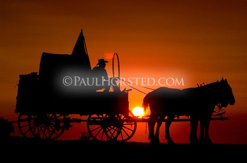Wagon at sunset.