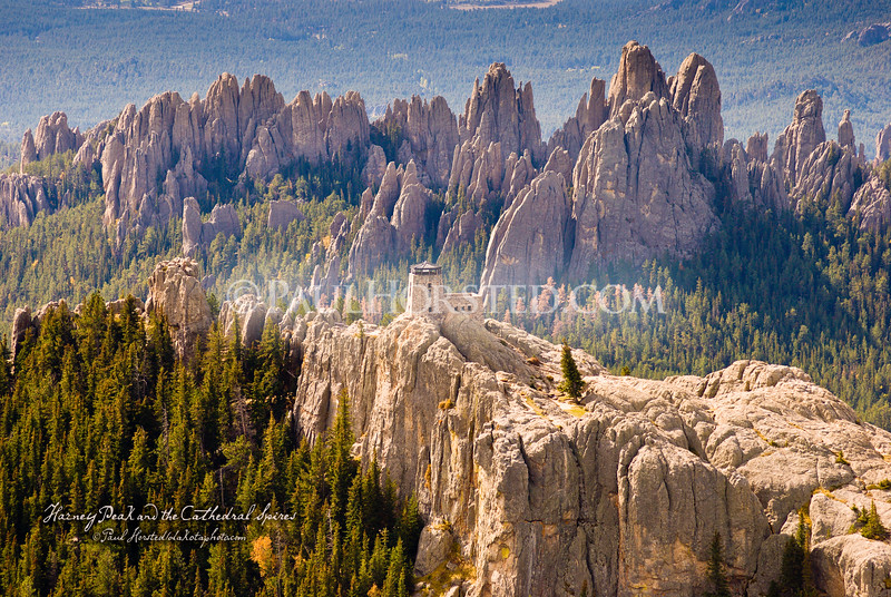 One of my most popular images, this view of Harney Peak and the Cathedral Spires in the Black Hills of South Dakota is shown here in both the original, uncropped form, and also cropped to fit a standard 11x14 frame. Because of many customer requests following publication of this image, I've posted here 2 different versions of this photo, taken from different angles around Harney Peak. Please select the one you like best! Thank you....Paul