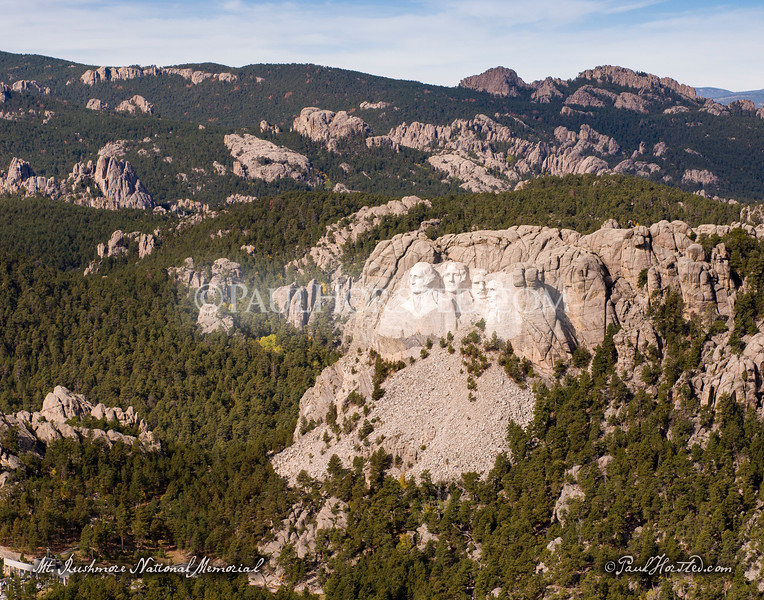 Aerial photo of Mt. Rushmore and the Black Hills in South Dakota.