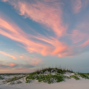 Dusk Clouds Over White Sand Dunes
