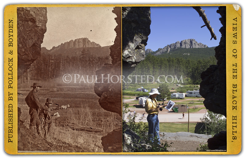 Pollock & Boyden view (circa 1880) of Elkhorn Mountain, near Harney Peak, from Palmer Gulch. This is west of Mt. Rushmore a few miles. Historic image courtesy Adams Museum & House.    ©Paul Horsted, All Rights Reserved.