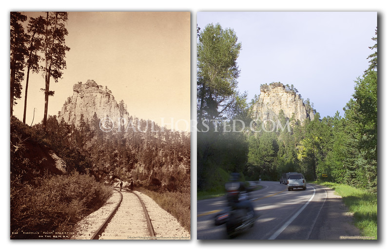 "Unknown photographer, view of Spearfish Canyon area noted as ""Russell's Point"" on the front of image. Historic image courtesy Adams Museum & House. Rail bed is still visible in some areas of the canyon, but here it goes under the present-day highway. Historic image courtesy Adams Museum & House.    ©Paul Horsted, All Rights Reserved."