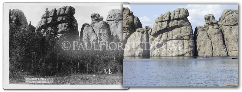 """J.C.H. Grabill image circa 1891 showing rocks at, according to the caption on front, """"Lake Harney Peaks."""" These rocks now emerge from Sylvan Lake, formed by a dam at one end of a valley in the Needles Area of Custer State Park. Historic image courtesy Library of Congress.    ©Paul Horsted, All Rights Reserved."""