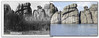 "J.C.H. Grabill image circa 1891 showing rocks at, according to the caption on front, ""Lake Harney Peaks."" These rocks now emerge from Sylvan Lake, formed by a dam at one end of a valley in the Needles Area of Custer State Park. Historic image courtesy Library of Congress.    ©Paul Horsted, All Rights Reserved."