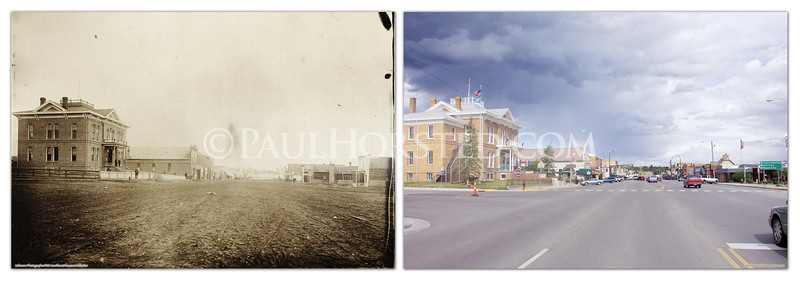 View of the 1881 Courthouse and Main Street in Custer, S.D. about 1895, and today. The old Courthouse is now a county museum, well worth a visit if you're in the area. Historic image courtesy 1881 Courthouse Museum.    ©Paul Horsted, All Rights Reserved.