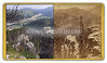 "C.B. Manville image of ""Anvill (sic) Rock from above Deadwood"". Anvil Rock has fallen down since this image was made, and is not a ""known landmark"" in the modern world. Modern view shows area at north end of Deadwood, highways leading to Sturgis and Spearfish in distance. Taken from north end of ""White Rocks"" above Deadwood. Historic image courtesy Larry Ness.    ©Paul Horsted, All Rights Reserved."