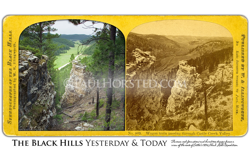 Wagon Train Passing Through Castle Creek Valley<br /> A stereoview by W.H. Illingworth shows more than 100 wagons of the Black Hills Expedition in Castle Creek Valley on July 26, 1874. In the modern color image made at this location, the same limestone formations and, remarkably, several burned stumps seen in the 1874 image are still present today. ©Paul Horsted, All Rights Reserved.