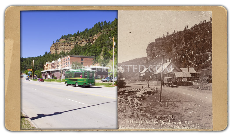 """Tollgate below Deadwood"", by unknown photographer. Wagon in distance says ""Omaha Photographic Co."" on side. ""S.D."" in image indicates taken after 1889. Historic image courtesy Adams Museum & House.    ©Paul Horsted, All Rights Reserved."