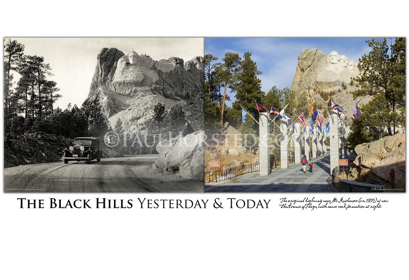 1933 Road Near Mt. Rushmore.<br /> Charles D'emery was a Connecticut-based photographer hired by Gutzon Borglum (and later the Park Service) to document the work on Mt. Rushmore. He took many outstanding images of the monument as well as the beauty of the surrounding Black Hills. Here we see a car that appears in some of D'emery's other images, as well as a figure sitting on rocks at right, in front of the partially-carved mountain.<br /> The earlier image can be dated by the emerging image of Jefferson to the left of Washington. Inadequate rock in that area caused Borglum to remove the carving by 1934 and start over on the other side. Today the former highway is the Avenue of Flags leading to the main viewing terrace at Mt. Rushmore. Note the same rock formation at right, with several feet of earth removed from around its base. ©Paul Horsted, All Rights Reserved.