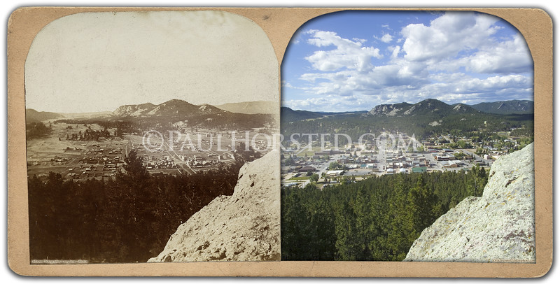 "Old stereoview; written on back: ""Birds eye view of a portion of Custer City looking north from Flag rock."" Historic image courtesy Larry Ness.    ©Paul Horsted, All Rights Reserved."