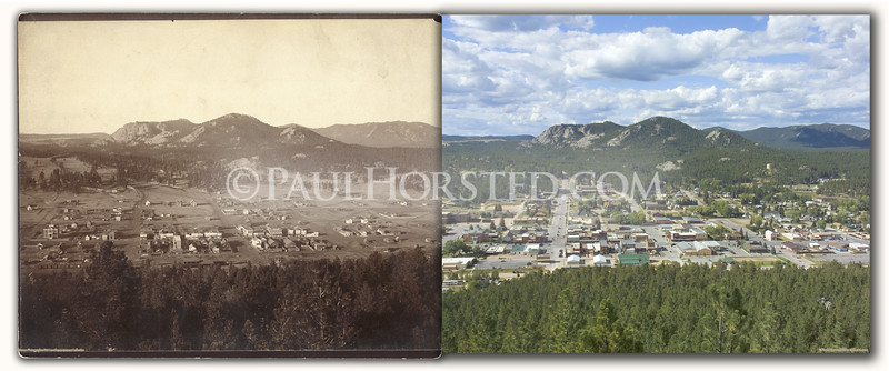 The town of Custer, S.D. as seen about 1890 and today. Taken from ridge south of town. Historic photo courtesy 1881 Courthouse Museum.    ©Paul Horsted, All Rights Reserved.