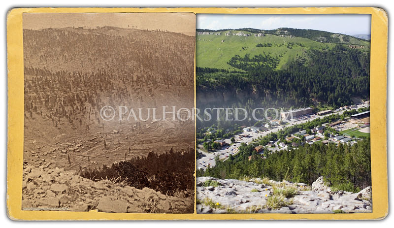 "Unknown photographer (no credit on mount), circa late 1870's. Area shown is north end of Deadwood. Scary location, right on edge of cliff of crumbly limestone, north end of ""White Rocks"" above Deadwood. Historic image courtesy Adams Museum & House.    ©Paul Horsted, All Rights Reserved."