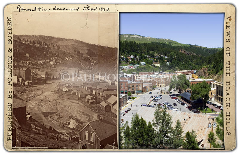 Pollock & Boyden stereoview of Deadwood after flood of 1883, according to note on mount. View is looking north across downtown area. Historic image courtesy Adams Museum & House.    ©Paul Horsted, All Rights Reserved.