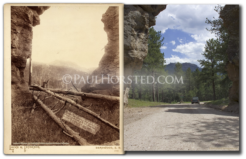 "Lock & McBride (or Locke & Peterson...caption on photo differs from mount) circa 1890's, image showing Harney Peak through a gap in large rock formation. Photo caption indicates ""on the B&M Railway"" though it is a couple miles to the railroad bed, which is now the Mickelson Trail. The gravel road which now passes through this gap is called Palmer Creek Road, and runs between Hwy. 244 and Hwy. 87, southeast of Hill City, S.D. Historic image courtesy Adams Musem & House.    ©Paul Horsted, All Rights Reserved."