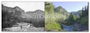 W.J. Collins photo of men fishing in Spearfish Canyon, date unnkown, probably about 1900. Note forest growth visible in modern image, as in many of these photo pairs of the Black Hills. Historic image courtesy Devereaux Library Archives.    ©Paul Horsted, All Rights Reserved.