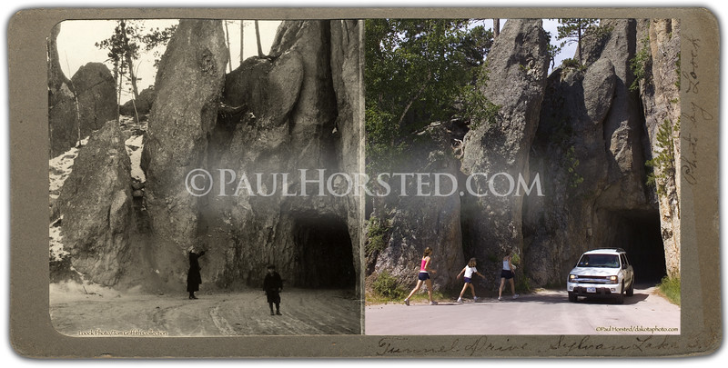 """Photo by Loock"" on front of mount, probably taken in 1920's. View of Needles Eye Tunnel, east side, in Custer State Park. Historic image courtesy Tom Griffith.    ©Paul Horsted, All Rights Reserved."