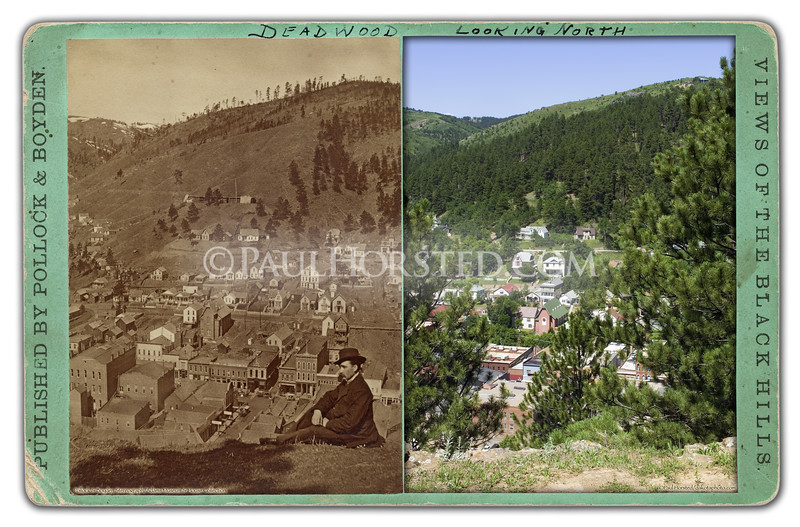 "At left in this stereoview is a Pollock & Boyden image, circa 1880. The title is ""Deadwood Looking North"" but the view is actually looking west. Several buildings in town still visible in modern image (note church at center). Taken from present-day Mt. Moriah Cemetery. Historic image courtesy Adams Museum & House.    ©Paul Horsted, All Rights Reserved."