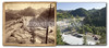 Locke & McBride image. Date unknown, estimate 1890's due to railroad. Area known as Pluma, between towns of Deadwood and Lead. In modern image, former railroad bed is now Mickelson Trail, used for hiking and biking. In distance, elevator hoist shaft of Homestake Mine is visible on mountaintop. Historic image courtesy Adams Museum & House.    ©Paul Horsted, All Rights Reserved.
