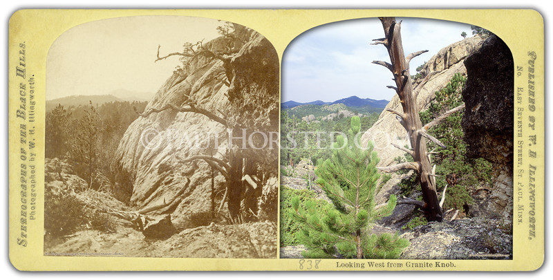 """1874 Black Hills """"Custer"""" Expedition image by W.H. Illingworth. (Much more information in the book """"Exploring With Custer"""" at  <a href=""""http://www.custertrail.com"""">http://www.custertrail.com</a>). View looking west from """"Granite Knob"""", now called Calamity Peak, 3 miles east of town of Custer, S.D. Note dead tree visible in 1874 and present day image (now leaning over). Historic image courtesy Minnilusa Pioneer Museum at The Journey, Rapid City, S.D.    ©Paul Horsted, All Rights Reserved."""