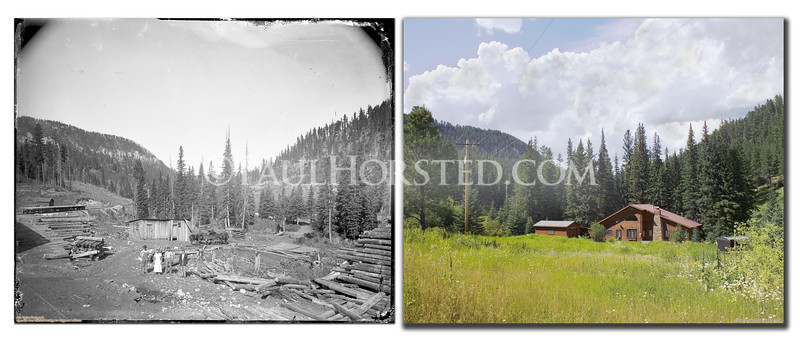 Historic image probably by W.B. Perkins, around 1900. From original glass plate negative. Shows an area known as Elmore in south end of Spearfish Canyon, appears to be a logging camp. Modern image in same area shows modern cabin/home. Historic image courtesy Spearfish Area Historical Society, Joe Hargraves Collection.    ©Paul Horsted, All Rights Reserved.