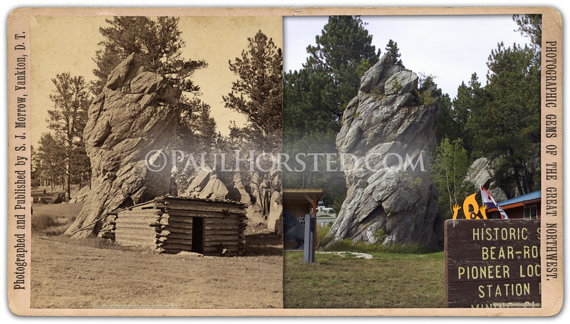 "S.J. Morrow view, probably taken in 1876, showing ""Bear Rock"", which is on the west side of Custer, S.D. (north side or road). Now the site of an art and framing studio. Historic image courtesy Adams Museum & House.    ©Paul Horsted, All Rights Reserved."