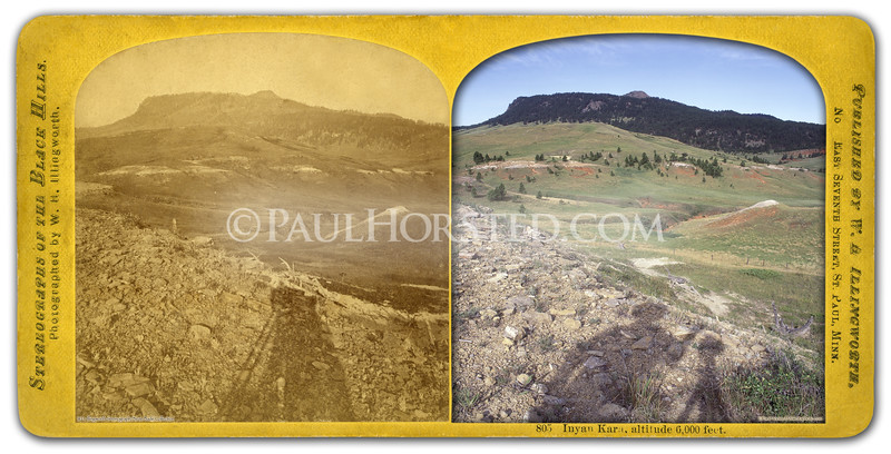 "1874 Black Hills ""Custer"" Expedition image by W.H. Illingworth. (Much more information in the book ""Exploring With Custer"" at  <a href=""http://www.custertrail.com"">http://www.custertrail.com</a>). Shows a view of Inyan Kara mountain just west of Black Hills, in Wyoming. Photographer's shadow in foreground. Historic image courtesy Brian Bade.    ©Paul Horsted, All Rights Reserved."