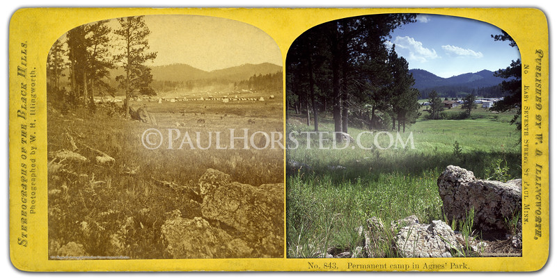 """1874 Black Hills """"Custer"""" Expedition image by W.H. Illingworth. (Much more information in the book """"Exploring With Custer"""" at  <a href=""""http://www.custertrail.com"""">http://www.custertrail.com</a>). View of """"Permanent Camp"""" of 1874 Black Hills Expedition, 3 miles east of town of Custer, S.D. Tents, horses, and wagons of Custer's men visible in distance. Note same rock in foreground. Historic image courtesy Minnilusa Pioneer Museum, at The Journey, in Rapid City, S.D.    ©Paul Horsted, All Rights Reserved."""
