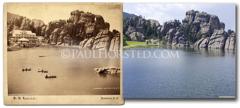 H.R. Locke view of Sylvan Lake and the hotel built there about 1890. The hotel burned down in the 1930's. Level of lake has also risen since then, submerging rocks visible at right in old image. Historic image courtesy Adams Museum & House.    ©Paul Horsted, All Rights Reserved.