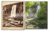 Locke & Peterson image of Spearfish Falls in Spearfish Canyon, 1890's. Note excursion train parked over top of falls. Historic image courtesy Adams Museum & House.    ©Paul Horsted, All Rights Reserved.