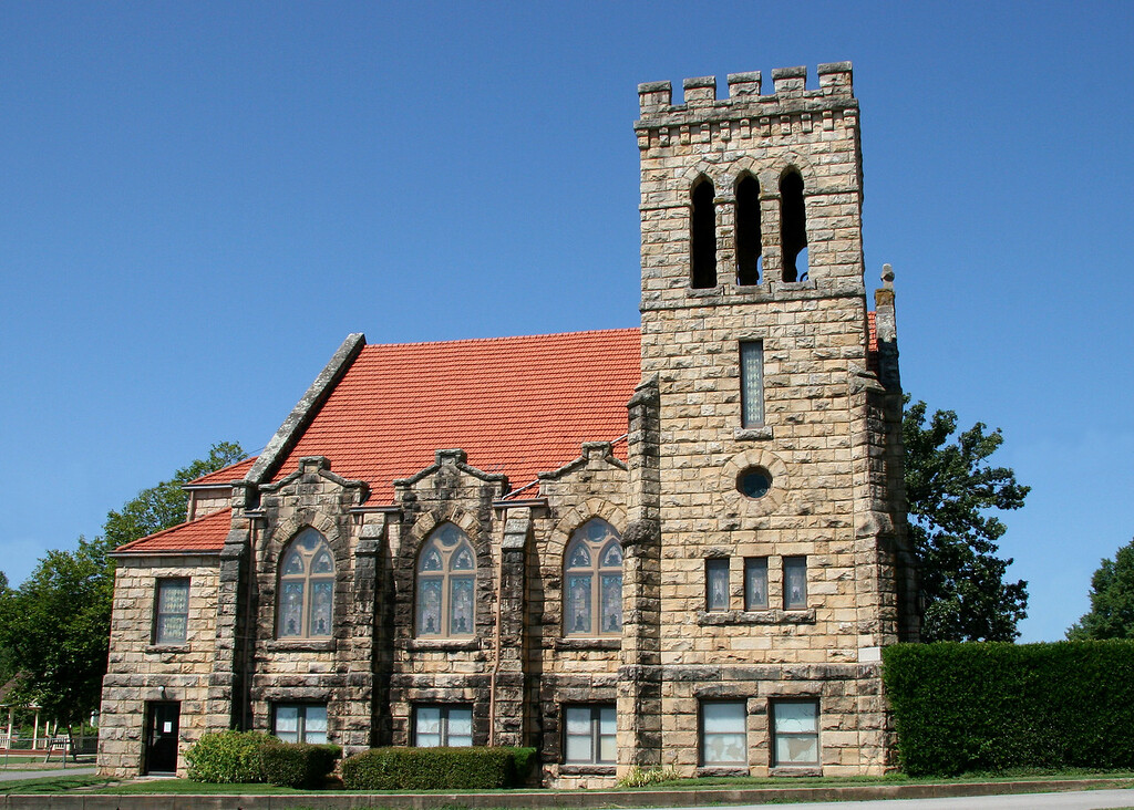 First United Methodist Church - 503 W. Commercial St, Ozark AR - Franklin County<br> Added to the National Historic Register in 1992<br> Historic Significance:	 Architecture/Engineering<br> Architect, builder, or engineer:	 Klingensmith,A.<br> Architectural Style:	 Late Gothic Revival<br> Area of Significance:	 Architecture<br> Period of Significance:	 1900-1924<br>