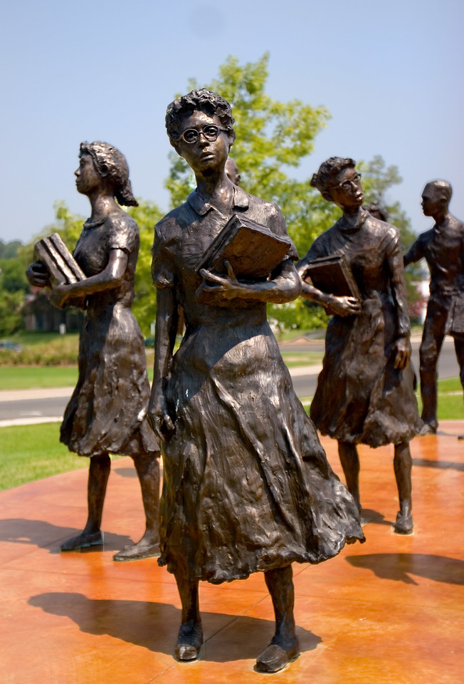 The Little Rock Nine statue outside of the Governor's Mansion<br> Ernest Green (b. 1941), Elizabeth Eckford (b. 1941), Jefferson Thomas (b. 1942), Terrence Roberts (b. 1941), Carlotta Walls LaNier (b. 1942), Minnijean Brown (b. 1941), Gloria Ray Karlmark (b. 1942), Thelma Mothershed (b. 1940), and Melba Beals (b. 1941). Ernest Green was the first African American to graduate from Central High School.