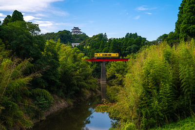 Isumi Railway Passing In Front Of Otaki Castle