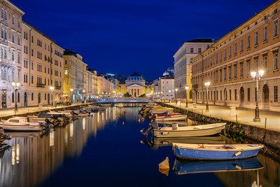 Colorful Blue Hour Canal In Trieste Italy