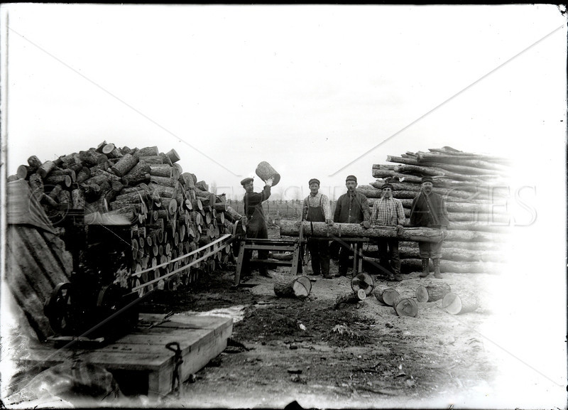 Turn of the century gasoline engine sawmill.