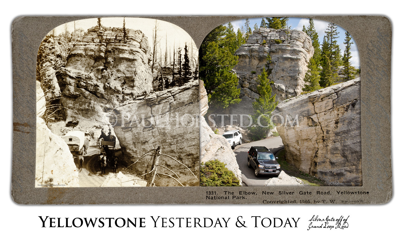 """Silver Gate at """"the Hoodoos"""", just off Grand Loop Road, Yesterday & Today"""