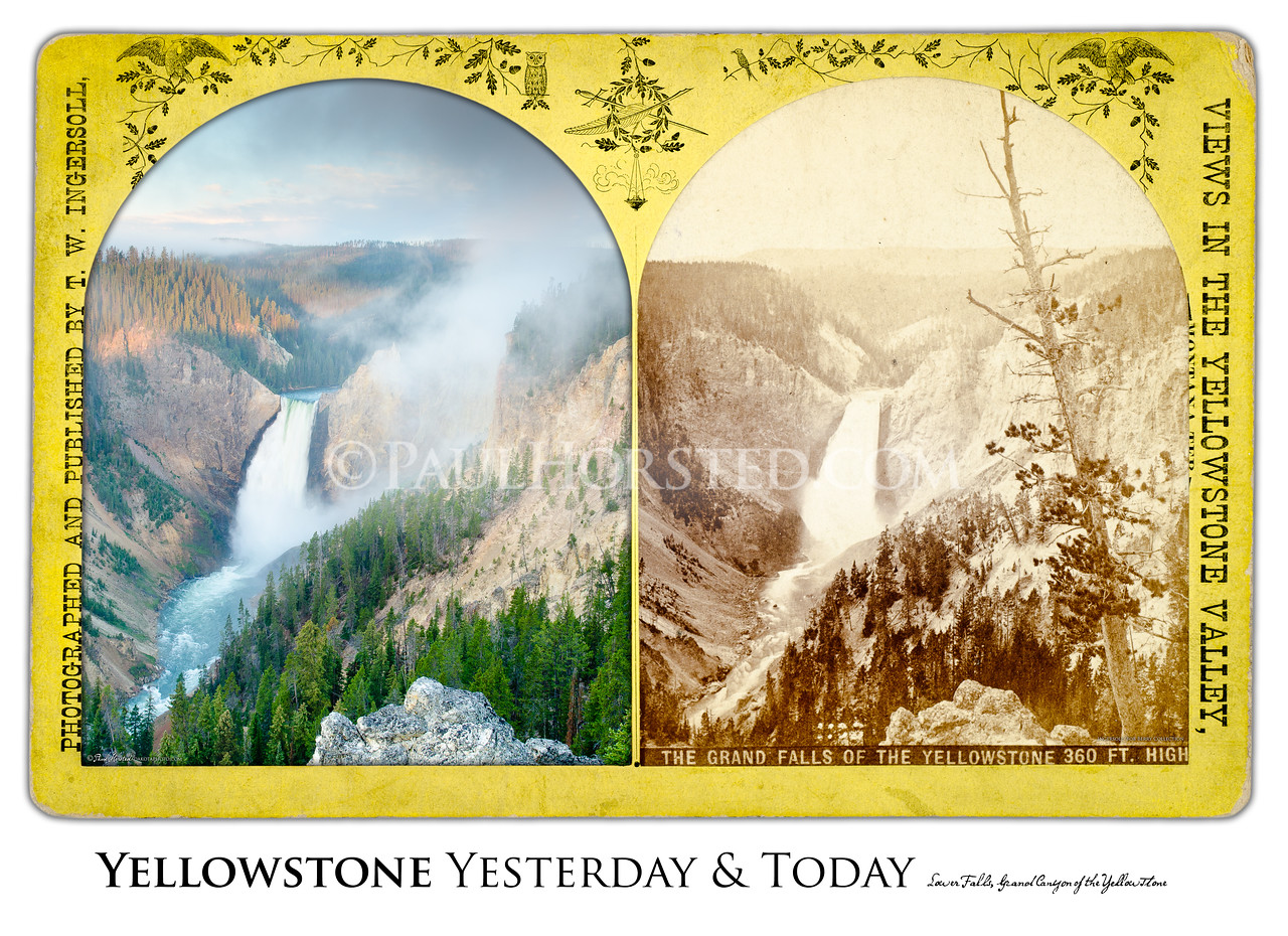 Lower Falls of the Yellowstone River Yesterday & Today