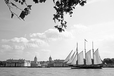 Oosterschelde Sails past the Greenwich Maritime Museum in London, England