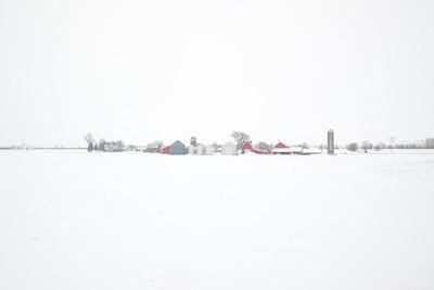 The California Zephyr passing through frozen farmland near Mendota, Illinois during the 2019 Polar Vortex event