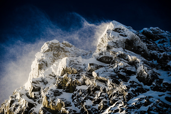Winter winds leaving only ice behind on Blackcomb Peak, Whistler BC