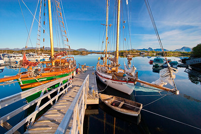 Small boat harbor in Ringstad in northern Norway