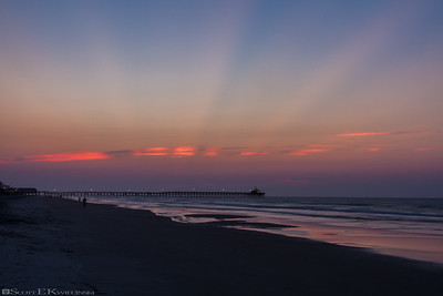 Crepuscular Rays Over Cherry Grove Pier