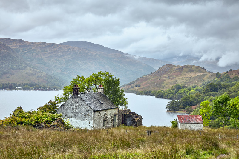 Old farm buildings on the northeastern shore of Loch Lomond.  Scotland.