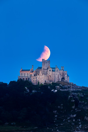 St Michael's Mount with the Lunar Eclipse