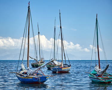 """Haitian """"bois fouilles"""" sailboats wait for people and cargo"""