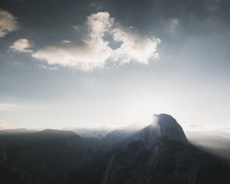 Sun Rising Behind Half Dome