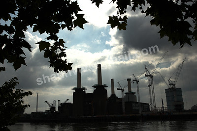 A silhouette of the Battersea Power Station seen through Trees.