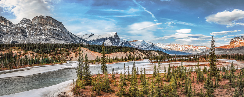 """Metallic Panorama Print with 18"""" x 36"""" Frame and 2.5"""" mat, with glass and mounting hardware"""